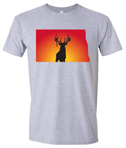 Short Sleeve T-Shirt North Dakota Athletic Heather Whitetail Deer Vibrant Design High Quality Tight Knit Ring Spun Low Maintenance Cotton Printed With The Newest Available Color Transfer Technology