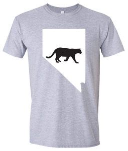 Short Sleeve T-Shirt Nevada Athletic Heather Mountain Lion Vibrant Design High Quality Tight Knit Ring Spun Low Maintenance Cotton Printed With The Newest Available Color Transfer Technology