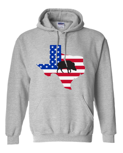 Pullover Hooded Sweatshirt Texas Athletic Heather Wild Hog Vibrant Design High Quality Tight Knit Ring Spun Low Maintenance Cotton Printed With The Newest Available Color Transfer Technology
