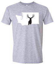 Load image into Gallery viewer, Short Sleeve T-Shirt Washington Athletic Heather Mule Deer Vibrant Design High Quality Tight Knit Ring Spun Low Maintenance Cotton Printed With The Newest Available Color Transfer Technology