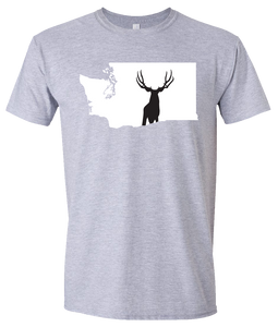 Short Sleeve T-Shirt Washington Athletic Heather Mule Deer Vibrant Design High Quality Tight Knit Ring Spun Low Maintenance Cotton Printed With The Newest Available Color Transfer Technology