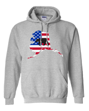Load image into Gallery viewer, Pullover Hooded Sweatshirt Alaska Athletic Heather Black Bear Vibrant Design High Quality Tight Knit Ring Spun Low Maintenance Cotton Printed With The Newest Available Color Transfer Technology