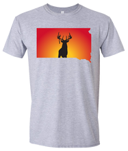 Load image into Gallery viewer, Short Sleeve T-Shirt South Dakota Athletic Heather Whitetail Deer Vibrant Design High Quality Tight Knit Ring Spun Low Maintenance Cotton Printed With The Newest Available Color Transfer Technology
