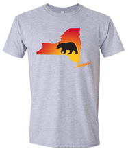 Load image into Gallery viewer, Short Sleeve T-Shirt New York Athletic Heather Black Bear Vibrant Design High Quality Tight Knit Ring Spun Low Maintenance Cotton Printed With The Newest Available Color Transfer Technology