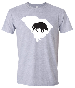 Short Sleeve T-Shirt South Carolina Athletic Heather Wild Hog Vibrant Design High Quality Tight Knit Ring Spun Low Maintenance Cotton Printed With The Newest Available Color Transfer Technology