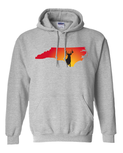 Pullover Hooded Sweatshirt North Carolina Athletic Heather Whitetail Deer Vibrant Design High Quality Tight Knit Ring Spun Low Maintenance Cotton Printed With The Newest Available Color Transfer Technology