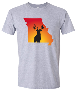 Short Sleeve T-Shirt Missouri Athletic Heather Whitetail Deer Vibrant Design High Quality Tight Knit Ring Spun Low Maintenance Cotton Printed With The Newest Available Color Transfer Technology