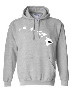 Pullover Hooded Sweatshirt Hawaii Athletic Heather Large Mouth Bass Vibrant Design High Quality Tight Knit Ring Spun Low Maintenance Cotton Printed With The Newest Available Color Transfer Technology