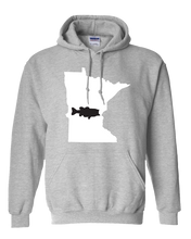 Load image into Gallery viewer, Pullover Hooded Sweatshirt Minnesota Athletic Heather Large Mouth Bass Vibrant Design High Quality Tight Knit Ring Spun Low Maintenance Cotton Printed With The Newest Available Color Transfer Technology