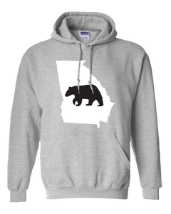 Pullover Hooded Sweatshirt Georgia Athletic Heather Black Bear Vibrant Design High Quality Tight Knit Ring Spun Low Maintenance Cotton Printed With The Newest Available Color Transfer Technology