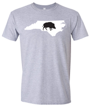 Load image into Gallery viewer, Short Sleeve T-Shirt North Carolina Athletic Heather Wild Hog Vibrant Design High Quality Tight Knit Ring Spun Low Maintenance Cotton Printed With The Newest Available Color Transfer Technology