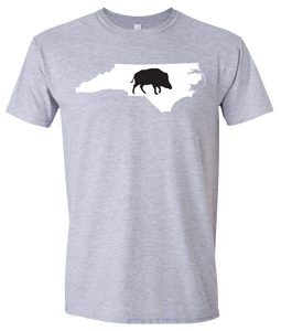 Short Sleeve T-Shirt North Carolina Athletic Heather Wild Hog Vibrant Design High Quality Tight Knit Ring Spun Low Maintenance Cotton Printed With The Newest Available Color Transfer Technology
