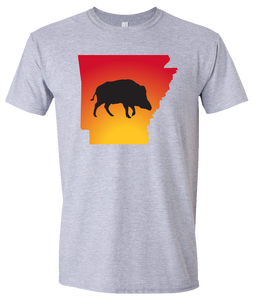 Short Sleeve T-Shirt Arkansas Athletic Heather Wild Hog Vibrant Design High Quality Tight Knit Ring Spun Low Maintenance Cotton Printed With The Newest Available Color Transfer Technology