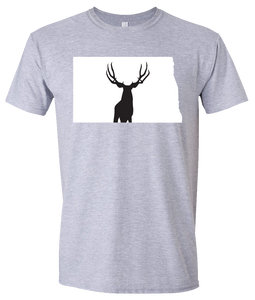 Short Sleeve T-Shirt North Dakota Athletic Heather Mule Deer Vibrant Design High Quality Tight Knit Ring Spun Low Maintenance Cotton Printed With The Newest Available Color Transfer Technology