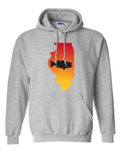 Pullover Hooded Sweatshirt Illinois Athletic Heather Large Mouth Bass Vibrant Design High Quality Tight Knit Ring Spun Low Maintenance Cotton Printed With The Newest Available Color Transfer Technology