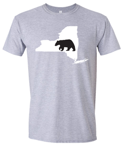Short Sleeve T-Shirt New York Athletic Heather Black Bear Vibrant Design High Quality Tight Knit Ring Spun Low Maintenance Cotton Printed With The Newest Available Color Transfer Technology
