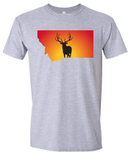 Load image into Gallery viewer, Short Sleeve T-Shirt Montana Athletic Heather Elk Vibrant Design High Quality Tight Knit Ring Spun Low Maintenance Cotton Printed With The Newest Available Color Transfer Technology