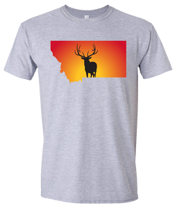 Short Sleeve T-Shirt Montana Athletic Heather Elk Vibrant Design High Quality Tight Knit Ring Spun Low Maintenance Cotton Printed With The Newest Available Color Transfer Technology