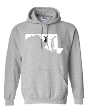 Load image into Gallery viewer, Pullover Hooded Sweatshirt Maryland Athletic Heather Whitetail Deer Vibrant Design High Quality Tight Knit Ring Spun Low Maintenance Cotton Printed With The Newest Available Color Transfer Technology