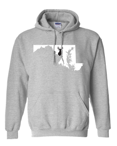 Pullover Hooded Sweatshirt Maryland Athletic Heather Whitetail Deer Vibrant Design High Quality Tight Knit Ring Spun Low Maintenance Cotton Printed With The Newest Available Color Transfer Technology