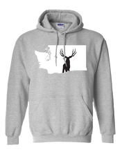 Load image into Gallery viewer, Pullover Hooded Sweatshirt Washington Athletic Heather Mule Deer Vibrant Design High Quality Tight Knit Ring Spun Low Maintenance Cotton Printed With The Newest Available Color Transfer Technology