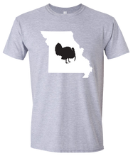Load image into Gallery viewer, Short Sleeve T-Shirt Missouri Athletic Heather Turkey Vibrant Design High Quality Tight Knit Ring Spun Low Maintenance Cotton Printed With The Newest Available Color Transfer Technology