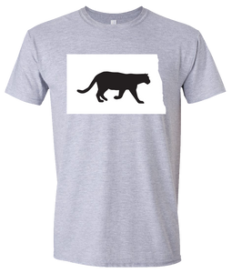 Short Sleeve T-Shirt North Dakota Athletic Heather Mountain Lion Vibrant Design High Quality Tight Knit Ring Spun Low Maintenance Cotton Printed With The Newest Available Color Transfer Technology