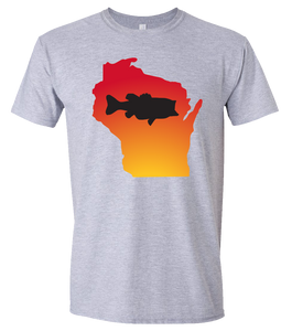 Short Sleeve T-Shirt Wisconsin Athletic Heather Large Mouth Bass Vibrant Design High Quality Tight Knit Ring Spun Low Maintenance Cotton Printed With The Newest Available Color Transfer Technology