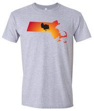 Load image into Gallery viewer, Short Sleeve T-Shirt Massachusetts Athletic Heather Turkey Vibrant Design High Quality Tight Knit Ring Spun Low Maintenance Cotton Printed With The Newest Available Color Transfer Technology