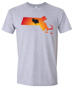 Short Sleeve T-Shirt Massachusetts Athletic Heather Turkey Vibrant Design High Quality Tight Knit Ring Spun Low Maintenance Cotton Printed With The Newest Available Color Transfer Technology
