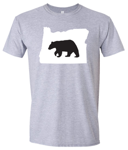 Short Sleeve T-Shirt Oregon Athletic Heather Black Bear Vibrant Design High Quality Tight Knit Ring Spun Low Maintenance Cotton Printed With The Newest Available Color Transfer Technology
