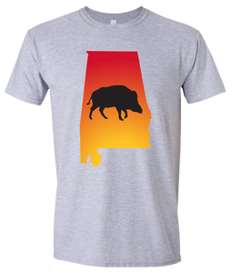 Short Sleeve T-Shirt Alabama Athletic Heather Wild Hog Vibrant Design High Quality Tight Knit Ring Spun Low Maintenance Cotton Printed With The Newest Available Color Transfer Technology
