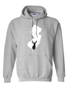 Pullover Hooded Sweatshirt New Jersey Athletic Heather Whitetail Deer Vibrant Design High Quality Tight Knit Ring Spun Low Maintenance Cotton Printed With The Newest Available Color Transfer Technology