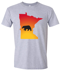 Short Sleeve T-Shirt Minnesota Athletic Heather Black Bear Vibrant Design High Quality Tight Knit Ring Spun Low Maintenance Cotton Printed With The Newest Available Color Transfer Technology