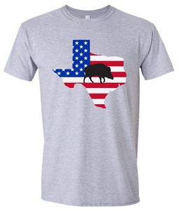 Short Sleeve T-Shirt Texas Athletic Heather Wild Hog Vibrant Design High Quality Tight Knit Ring Spun Low Maintenance Cotton Printed With The Newest Available Color Transfer Technology