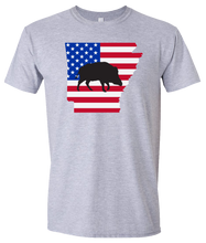 Load image into Gallery viewer, Short Sleeve T-Shirt Arkansas Athletic Heather Wild Hog Vibrant Design High Quality Tight Knit Ring Spun Low Maintenance Cotton Printed With The Newest Available Color Transfer Technology