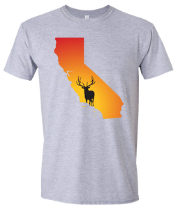 Short Sleeve T-Shirt California Athletic Heather Elk Vibrant Design High Quality Tight Knit Ring Spun Low Maintenance Cotton Printed With The Newest Available Color Transfer Technology