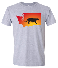 Load image into Gallery viewer, Short Sleeve T-Shirt Washington Athletic Heather Mountain Lion Vibrant Design High Quality Tight Knit Ring Spun Low Maintenance Cotton Printed With The Newest Available Color Transfer Technology