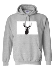 Load image into Gallery viewer, Pullover Hooded Sweatshirt North Dakota Athletic Heather Mule Deer Vibrant Design High Quality Tight Knit Ring Spun Low Maintenance Cotton Printed With The Newest Available Color Transfer Technology