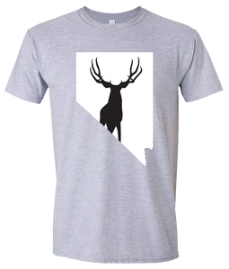 Short Sleeve T-Shirt Nevada Athletic Heather Mule Deer Vibrant Design High Quality Tight Knit Ring Spun Low Maintenance Cotton Printed With The Newest Available Color Transfer Technology