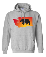 Load image into Gallery viewer, Pullover Hooded Sweatshirt Washington Athletic Heather Black Bear Vibrant Design High Quality Tight Knit Ring Spun Low Maintenance Cotton Printed With The Newest Available Color Transfer Technology