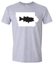 Load image into Gallery viewer, Short Sleeve T-Shirt Iowa Athletic Heather Large Mouth Bass Vibrant Design High Quality Tight Knit Ring Spun Low Maintenance Cotton Printed With The Newest Available Color Transfer Technology