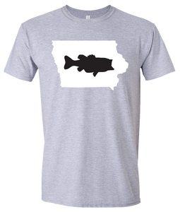 Short Sleeve T-Shirt Iowa Athletic Heather Large Mouth Bass Vibrant Design High Quality Tight Knit Ring Spun Low Maintenance Cotton Printed With The Newest Available Color Transfer Technology