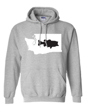 Load image into Gallery viewer, Pullover Hooded Sweatshirt Washington Athletic Heather Large Mouth Bass Vibrant Design High Quality Tight Knit Ring Spun Low Maintenance Cotton Printed With The Newest Available Color Transfer Technology