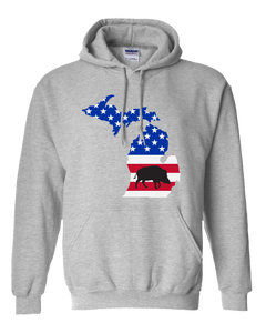 Pullover Hooded Sweatshirt Michigan Athletic Heather Wild Hog Vibrant Design High Quality Tight Knit Ring Spun Low Maintenance Cotton Printed With The Newest Available Color Transfer Technology