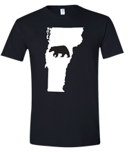 Load image into Gallery viewer, Short Sleeve T-Shirt Vermont Black Black Bear Vibrant Design High Quality Tight Knit Ring Spun Low Maintenance Cotton Printed With The Newest Available Color Transfer Technology