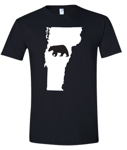 Short Sleeve T-Shirt Vermont Black Black Bear Vibrant Design High Quality Tight Knit Ring Spun Low Maintenance Cotton Printed With The Newest Available Color Transfer Technology