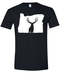Short Sleeve T-Shirt Oregon Black Mule Deer Vibrant Design High Quality Tight Knit Ring Spun Low Maintenance Cotton Printed With The Newest Available Color Transfer Technology
