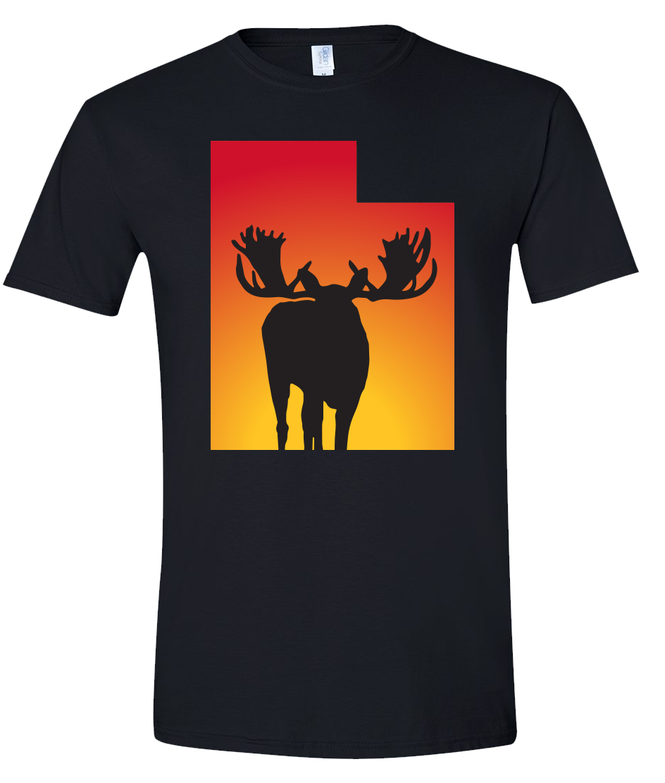 Short Sleeve T-Shirt Utah Black Moose Vibrant Design High Quality Tight Knit Ring Spun Low Maintenance Cotton Printed With The Newest Available Color Transfer Technology