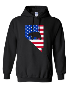 Pullover Hooded Sweatshirt Nevada Black Black Bear Vibrant Design High Quality Tight Knit Ring Spun Low Maintenance Cotton Printed With The Newest Available Color Transfer Technology